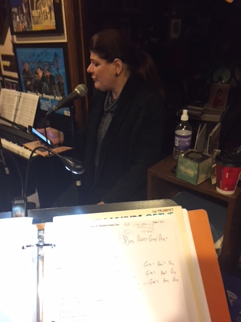 Lead singer, Suzanne, hard at work practicing new charts